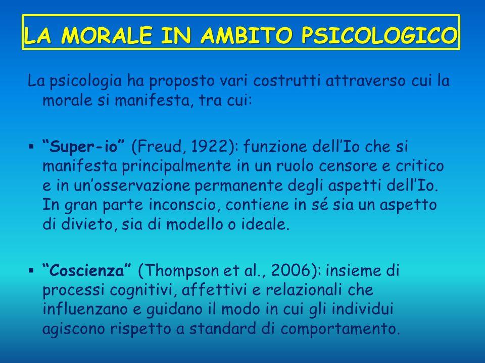 LA MORALE IN AMBITO PSICOLOGICO