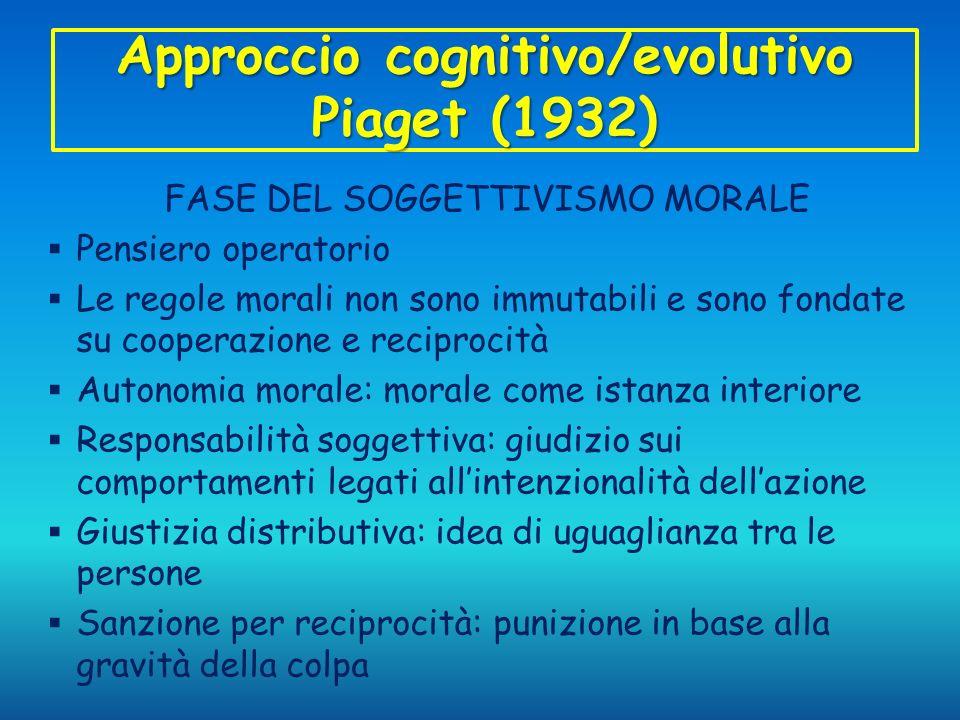 Approccio cognitivo/evolutivo Piaget (1932)