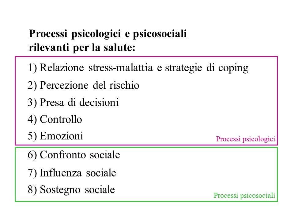 Processi psicologici e psicosociali rilevanti per la salute: