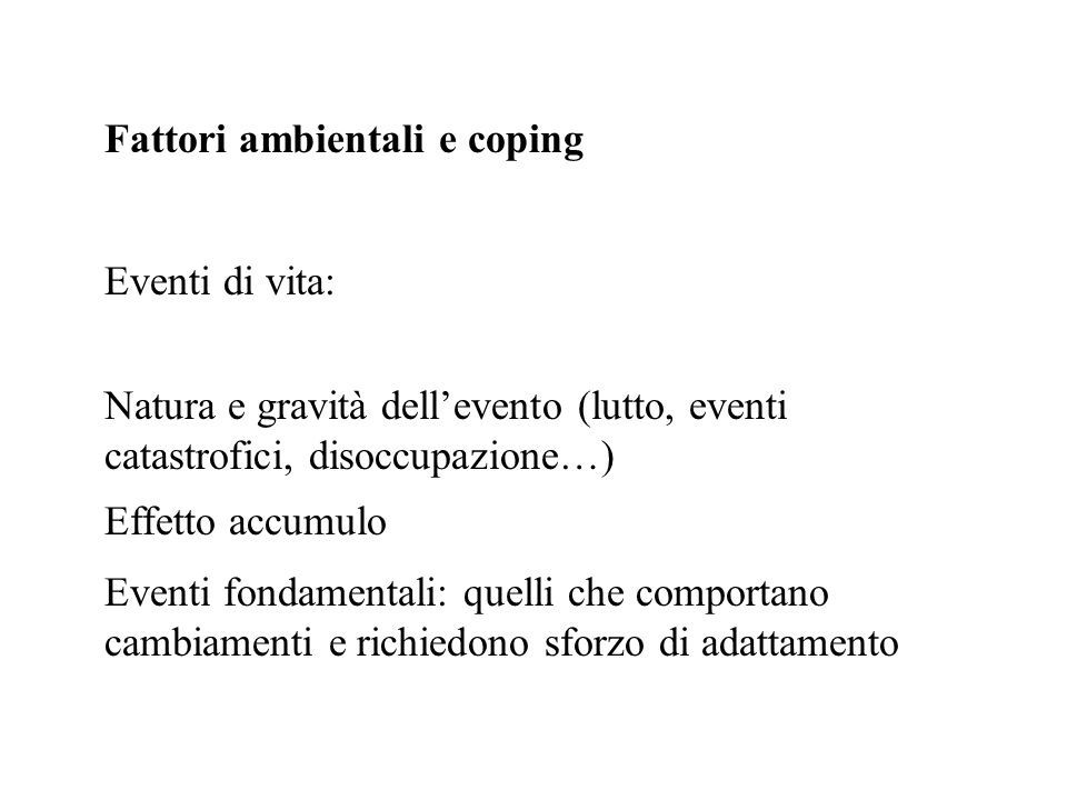 Fattori ambientali e coping