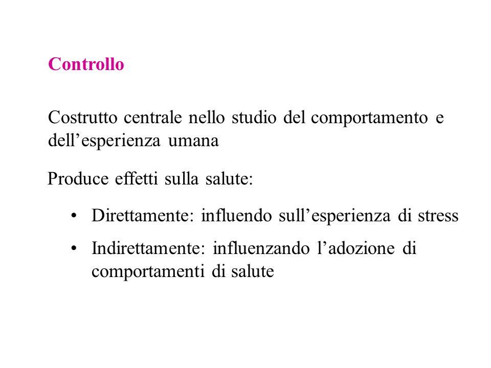 Controllo Costrutto centrale nello studio del comportamento e dell'esperienza umana. Produce effetti sulla salute: