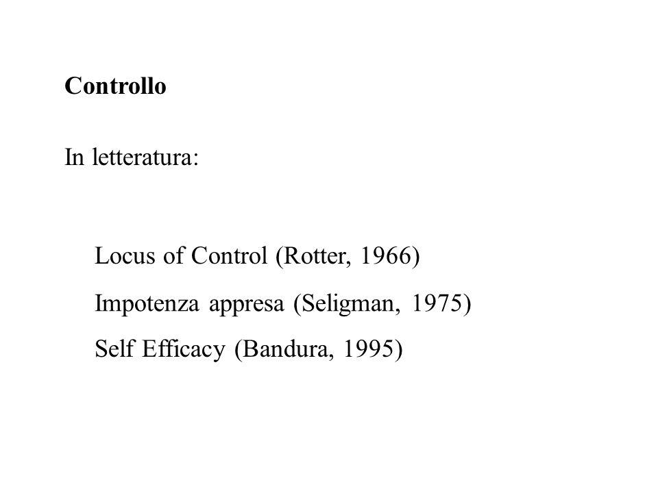 Controllo In letteratura: Locus of Control (Rotter, 1966) Impotenza appresa (Seligman, 1975) Self Efficacy (Bandura, 1995)