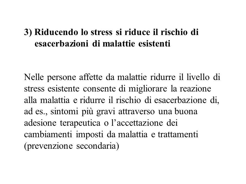 3) Riducendo lo stress si riduce il rischio di esacerbazioni di malattie esistenti