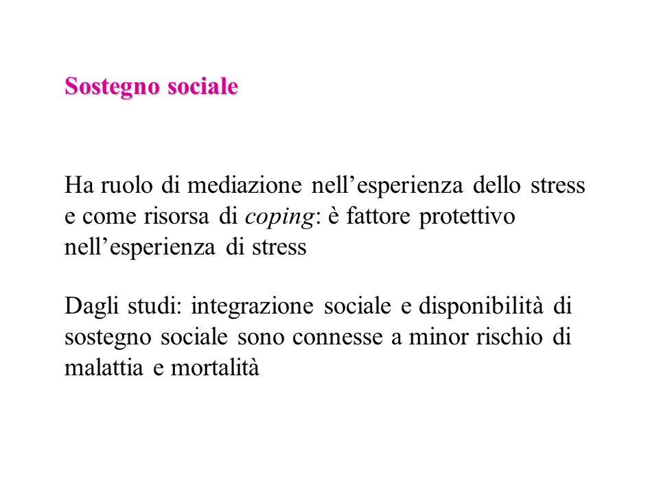 Sostegno sociale Ha ruolo di mediazione nell'esperienza dello stress e come risorsa di coping: è fattore protettivo nell'esperienza di stress.