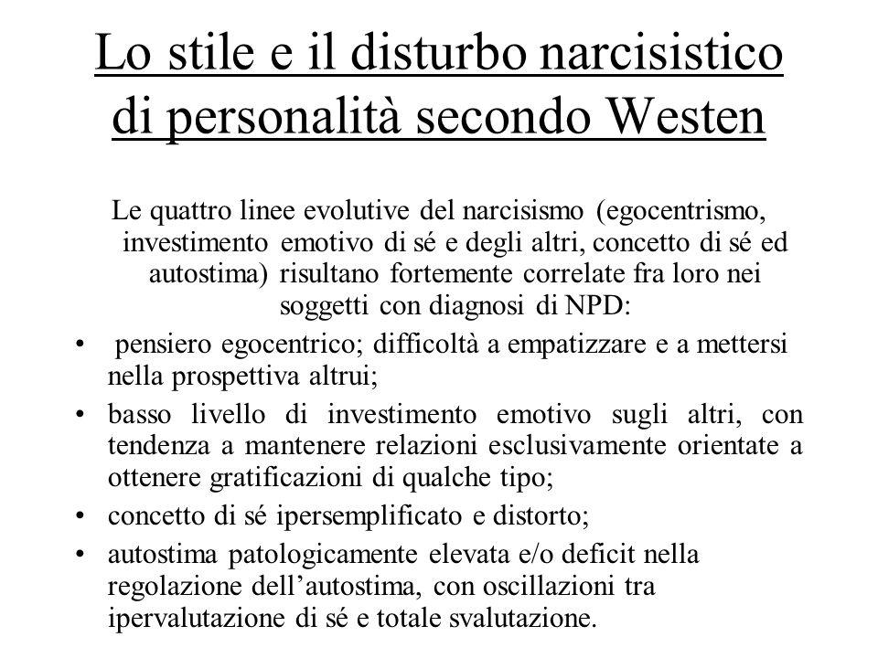 Lo stile e il disturbo narcisistico di personalità secondo Westen