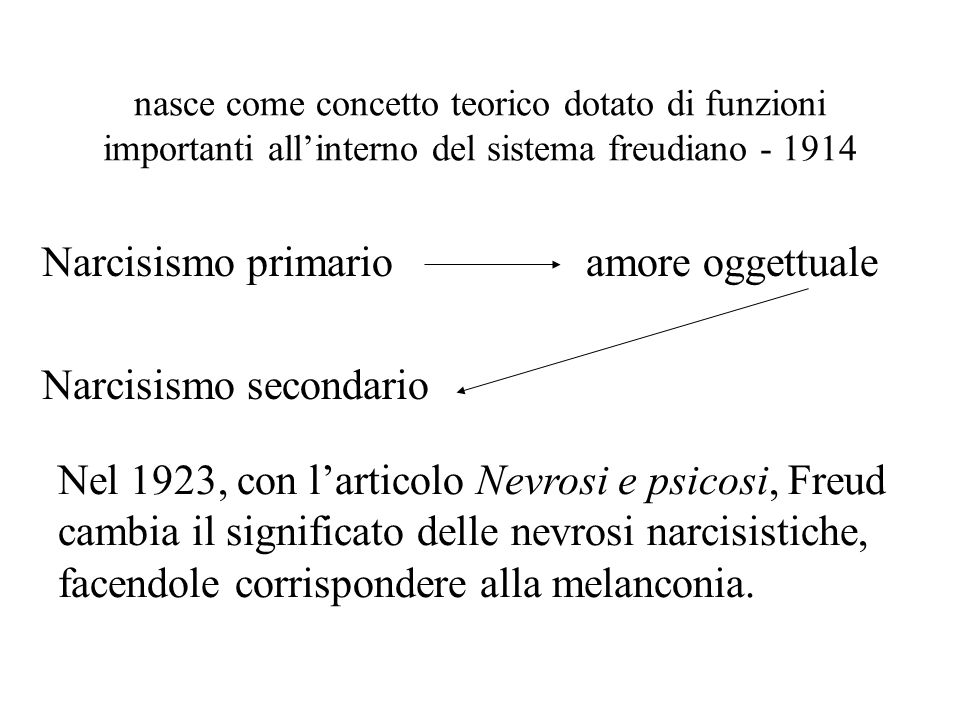 Narcisismo primario amore oggettuale Narcisismo secondario