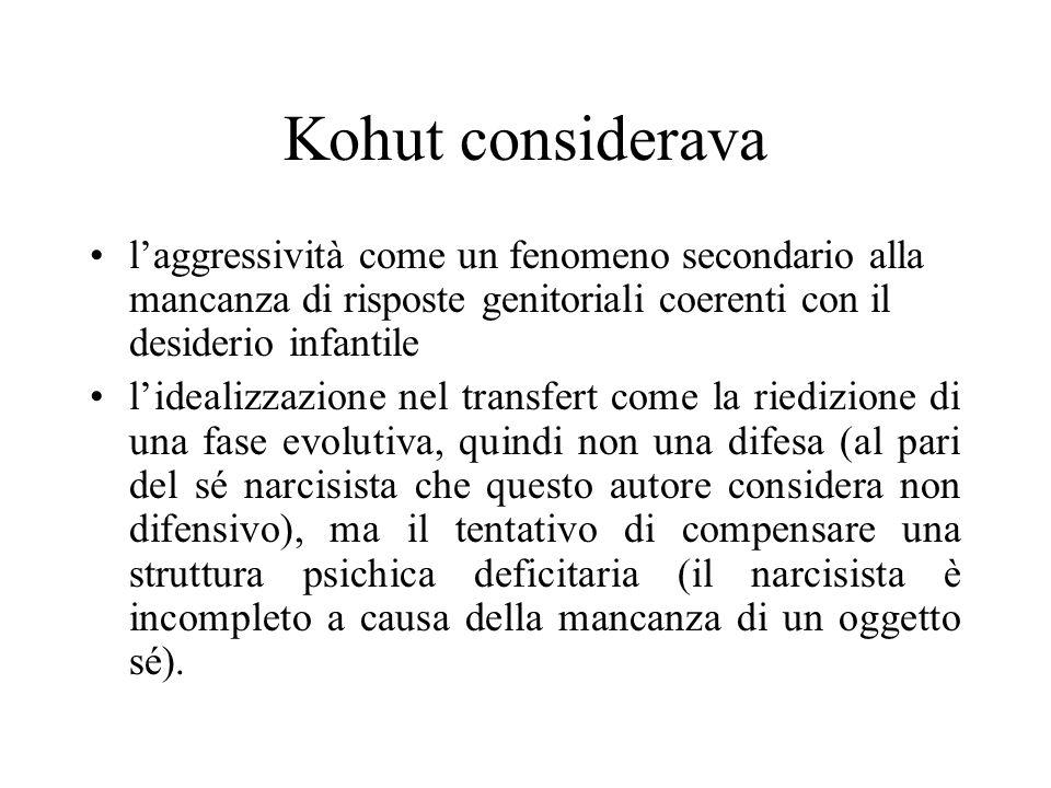 Kohut considerava l'aggressività come un fenomeno secondario alla mancanza di risposte genitoriali coerenti con il desiderio infantile.
