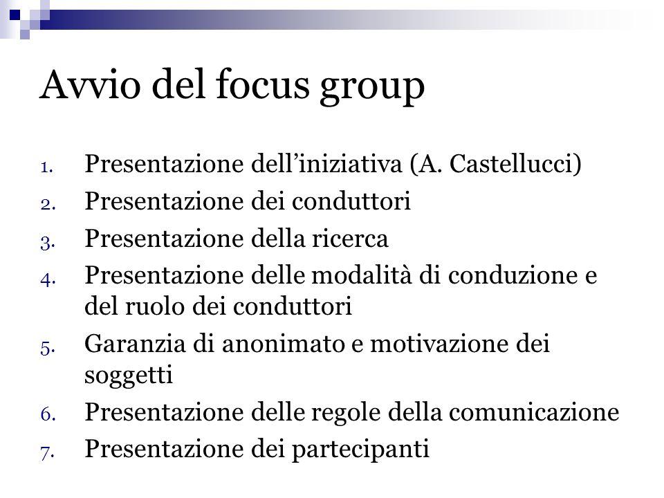 Avvio del focus group Presentazione dell'iniziativa (A. Castellucci)