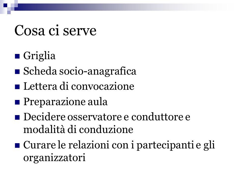 Cosa ci serve Griglia Scheda socio-anagrafica Lettera di convocazione