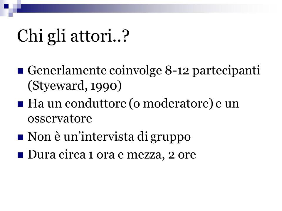 Chi gli attori.. Generlamente coinvolge 8-12 partecipanti (Styeward, 1990) Ha un conduttore (o moderatore) e un osservatore.