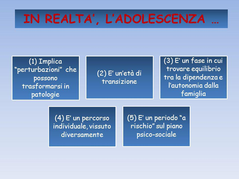 IN REALTA', L'ADOLESCENZA …