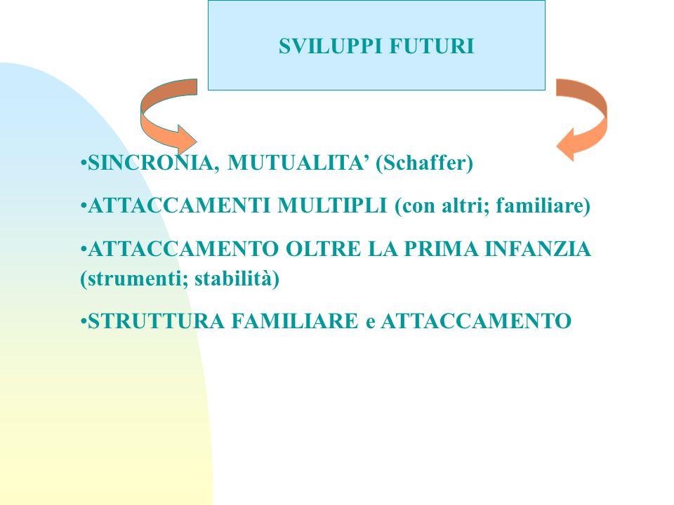 SVILUPPI FUTURI SINCRONIA, MUTUALITA' (Schaffer) ATTACCAMENTI MULTIPLI (con altri; familiare)