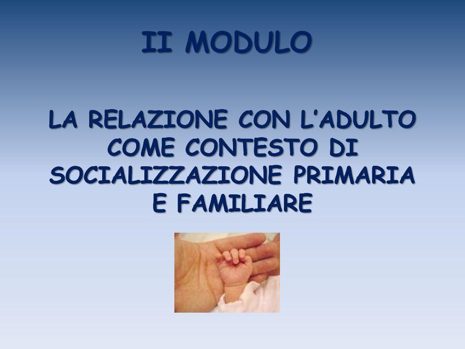 II MODULO LA RELAZIONE CON L'ADULTO COME CONTESTO DI SOCIALIZZAZIONE PRIMARIA E FAMILIARE.