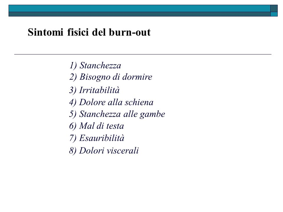 Sintomi fisici del burn-out