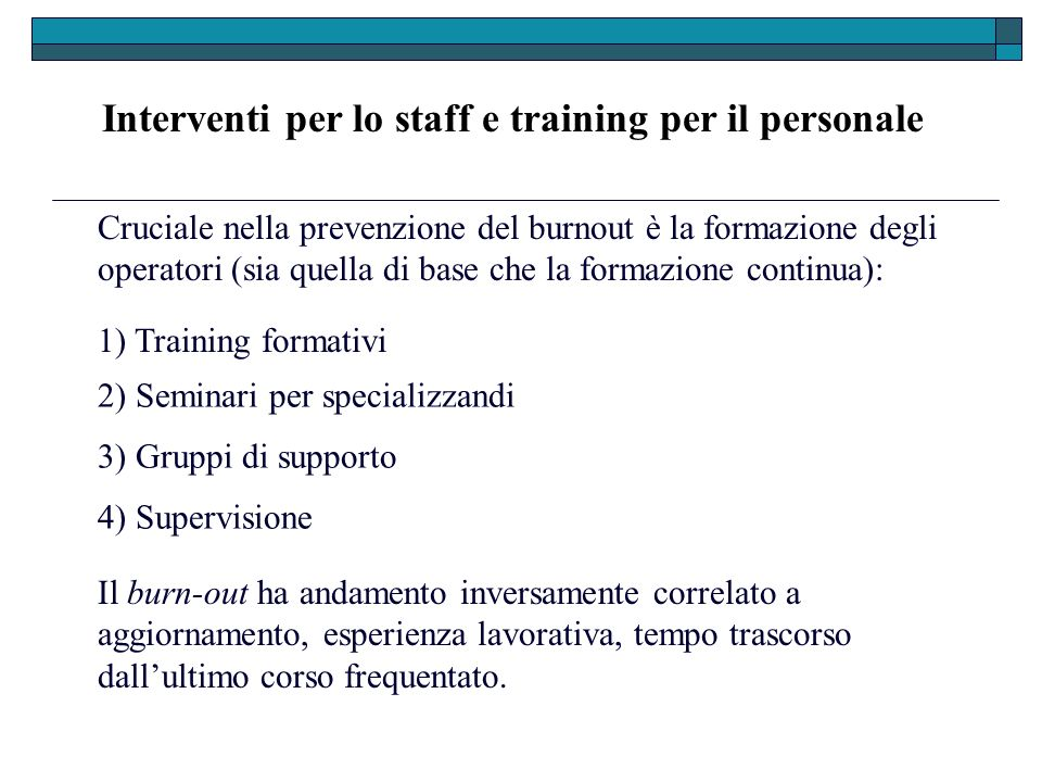 Interventi per lo staff e training per il personale