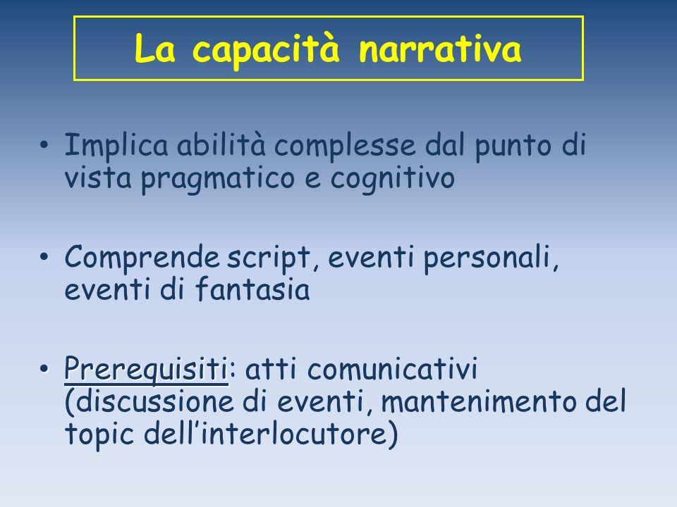 La capacità narrativa Implica abilità complesse dal punto di vista pragmatico e cognitivo. Comprende script, eventi personali, eventi di fantasia.