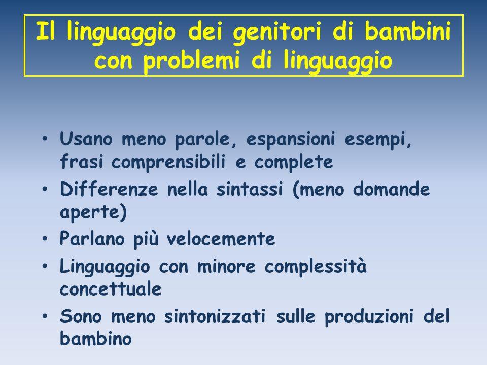 Il linguaggio dei genitori di bambini con problemi di linguaggio