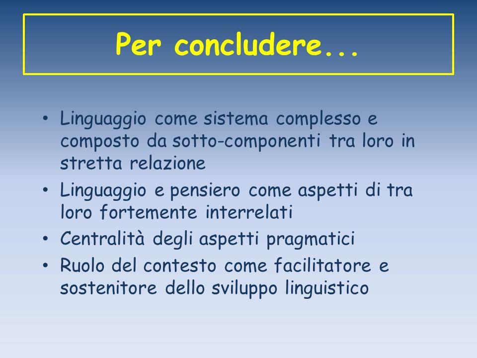 Per concludere... Linguaggio come sistema complesso e composto da sotto-componenti tra loro in stretta relazione.