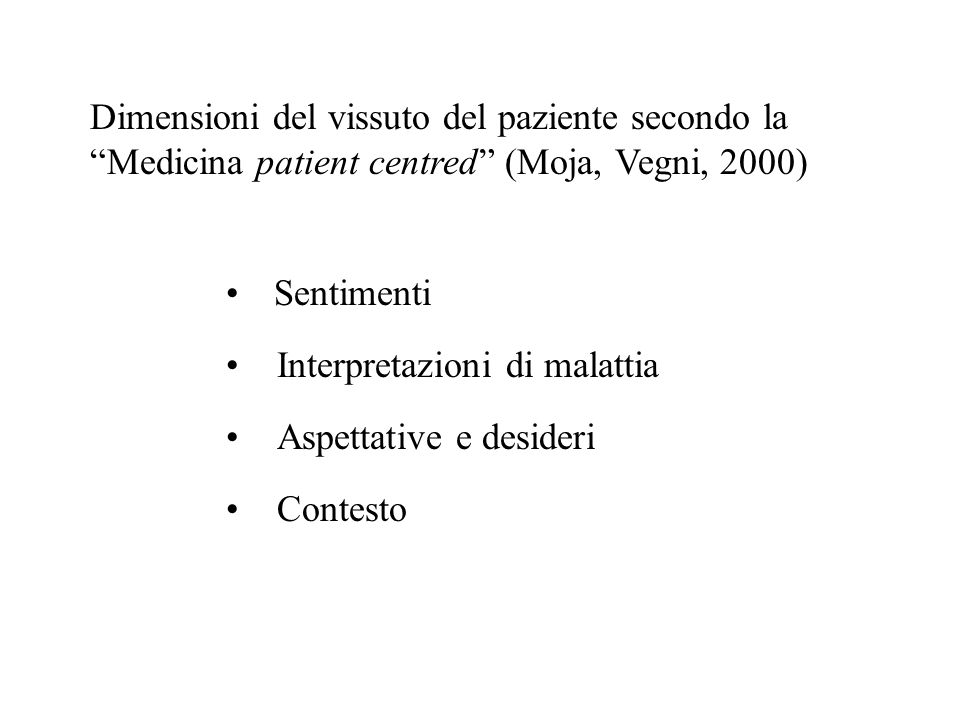 Dimensioni del vissuto del paziente secondo la Medicina patient centred (Moja, Vegni, 2000)