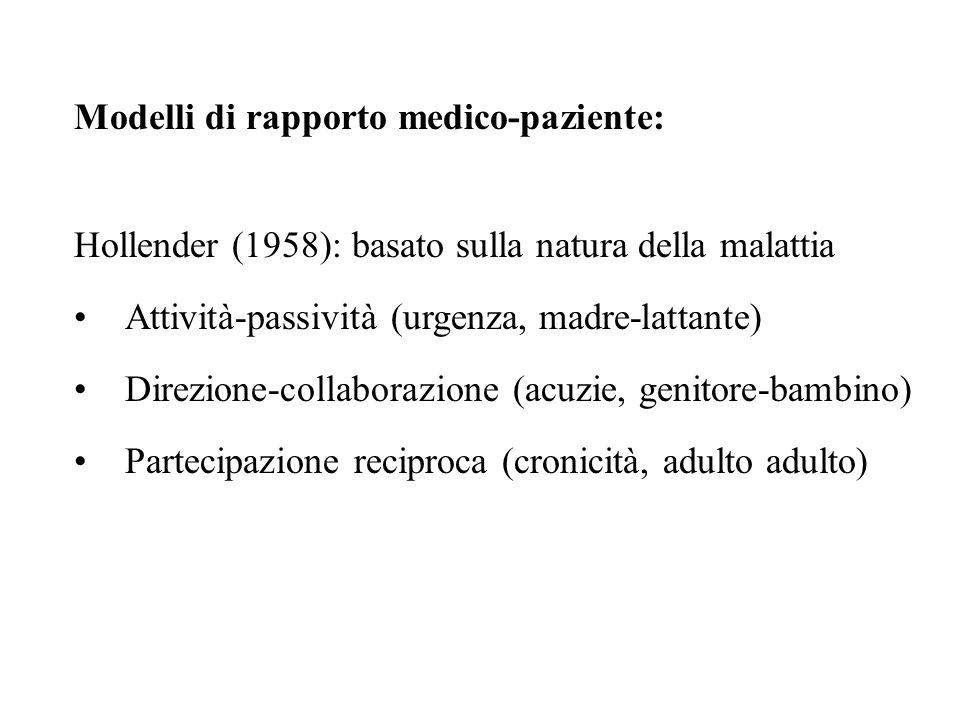 Modelli di rapporto medico-paziente:
