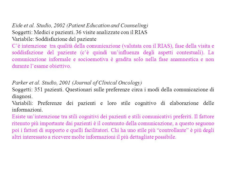 Eide et al. Studio, 2002 (Patient Education and Counseling)
