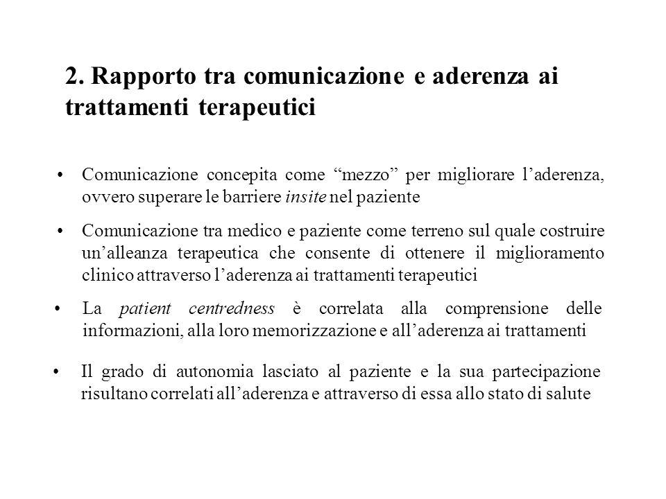 2. Rapporto tra comunicazione e aderenza ai trattamenti terapeutici