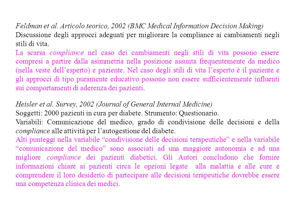 Feldman et al. Articolo teorico, 2002 (BMC Medical Information Decision Making)