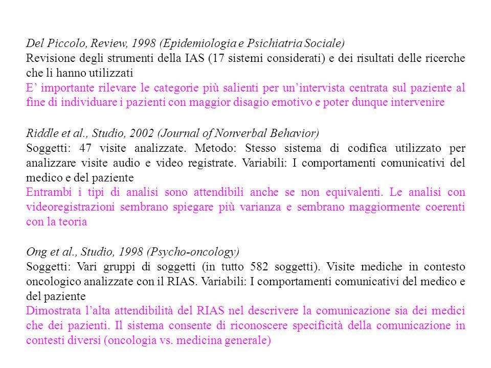 Del Piccolo, Review, 1998 (Epidemiologia e Psichiatria Sociale)