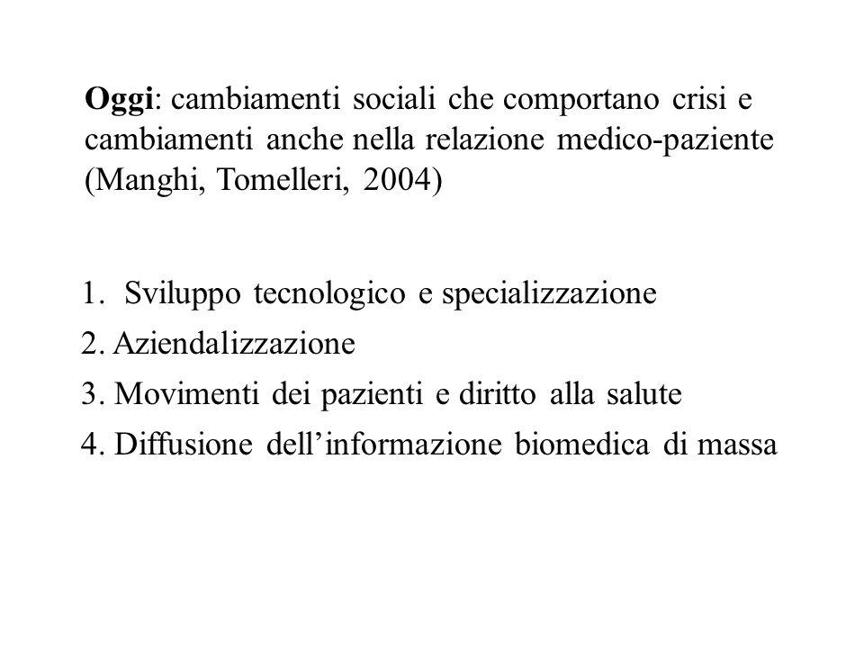 Oggi: cambiamenti sociali che comportano crisi e cambiamenti anche nella relazione medico-paziente (Manghi, Tomelleri, 2004)