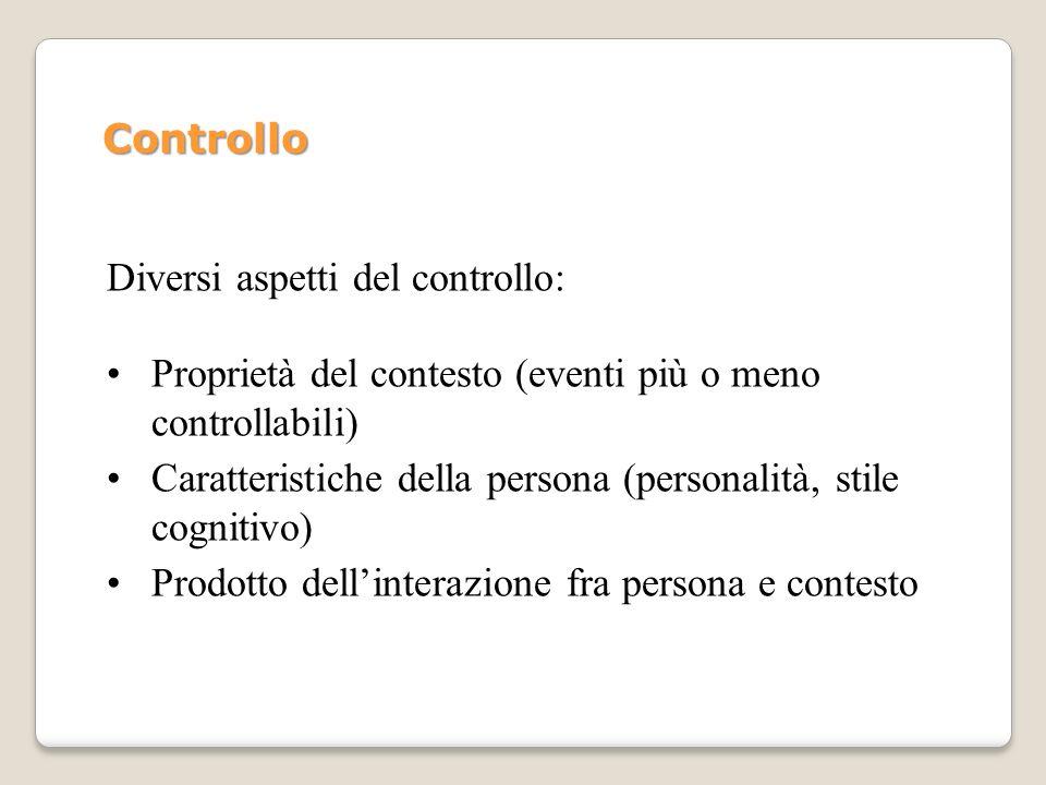 Controllo Diversi aspetti del controllo: Proprietà del contesto (eventi più o meno controllabili)