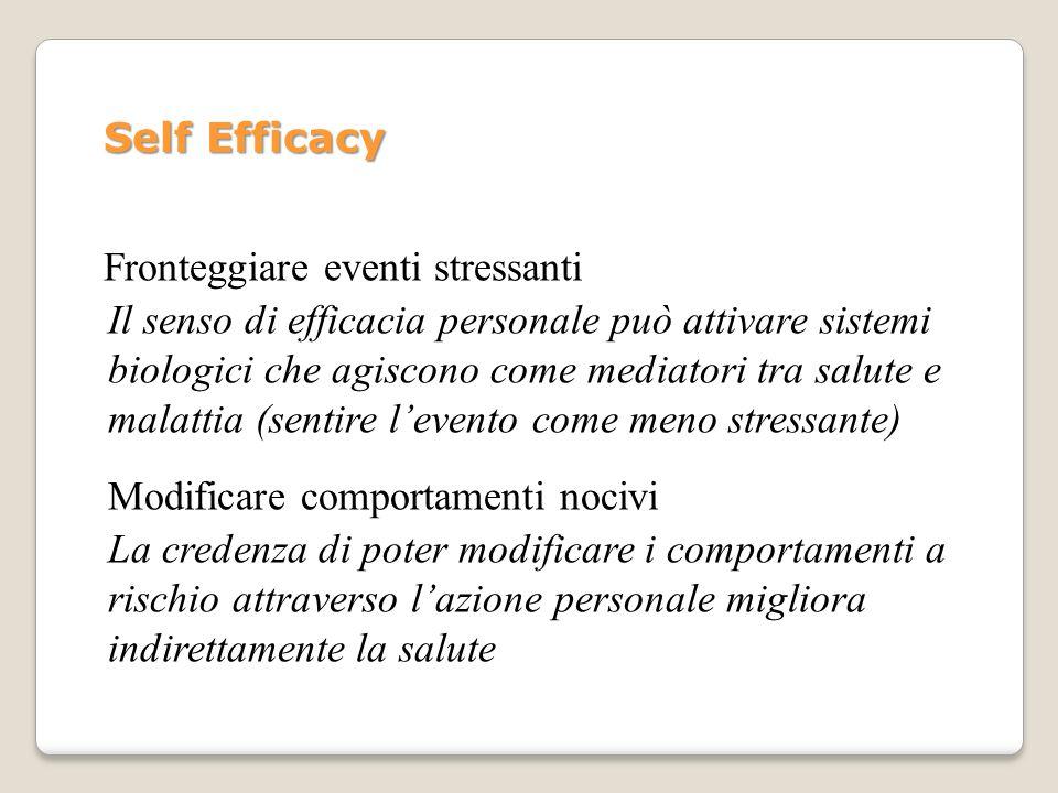 Self Efficacy Fronteggiare eventi stressanti.