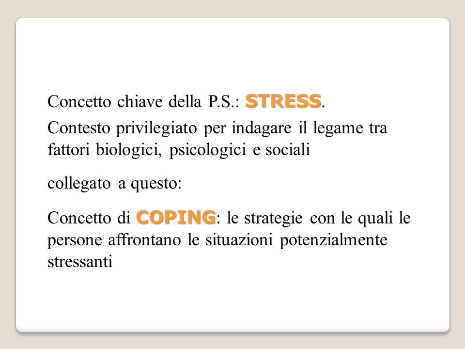 Concetto chiave della P.S.: STRESS.