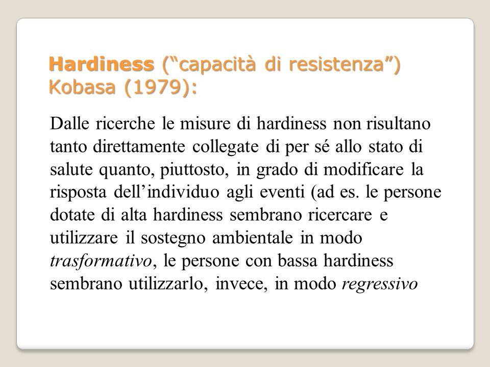 Hardiness ( capacità di resistenza ) Kobasa (1979):