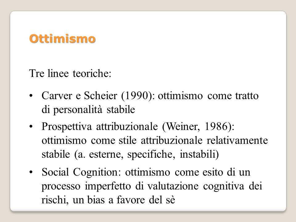 Ottimismo Tre linee teoriche: Carver e Scheier (1990): ottimismo come tratto di personalità stabile.