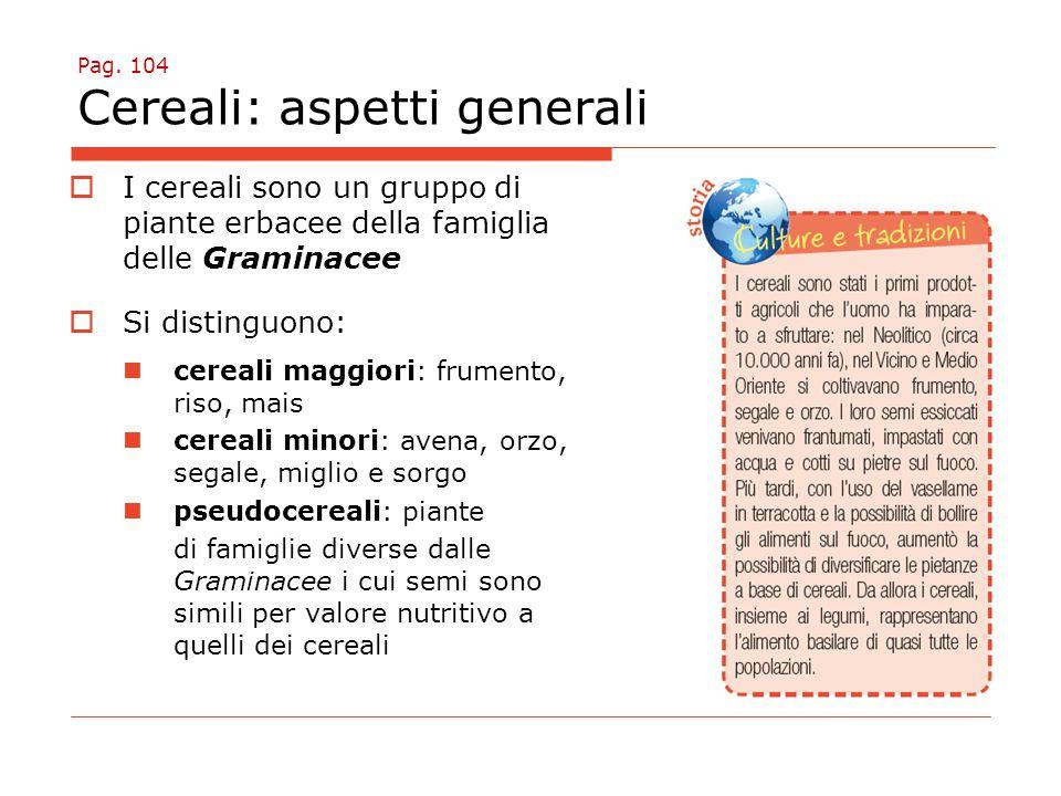 Pag. 104 Cereali: aspetti generali