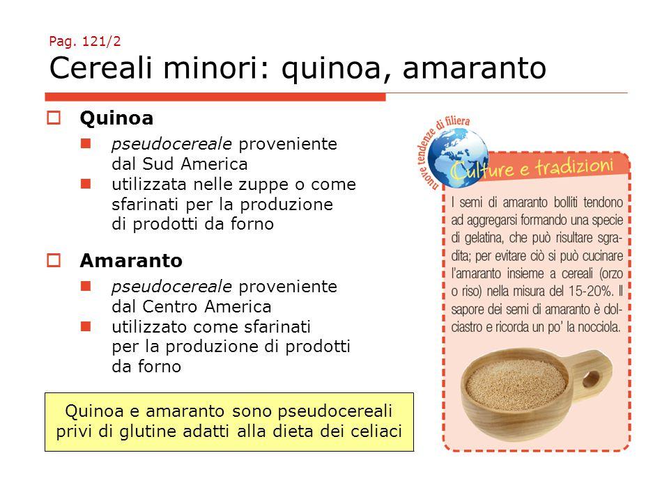 Pag. 121/2 Cereali minori: quinoa, amaranto