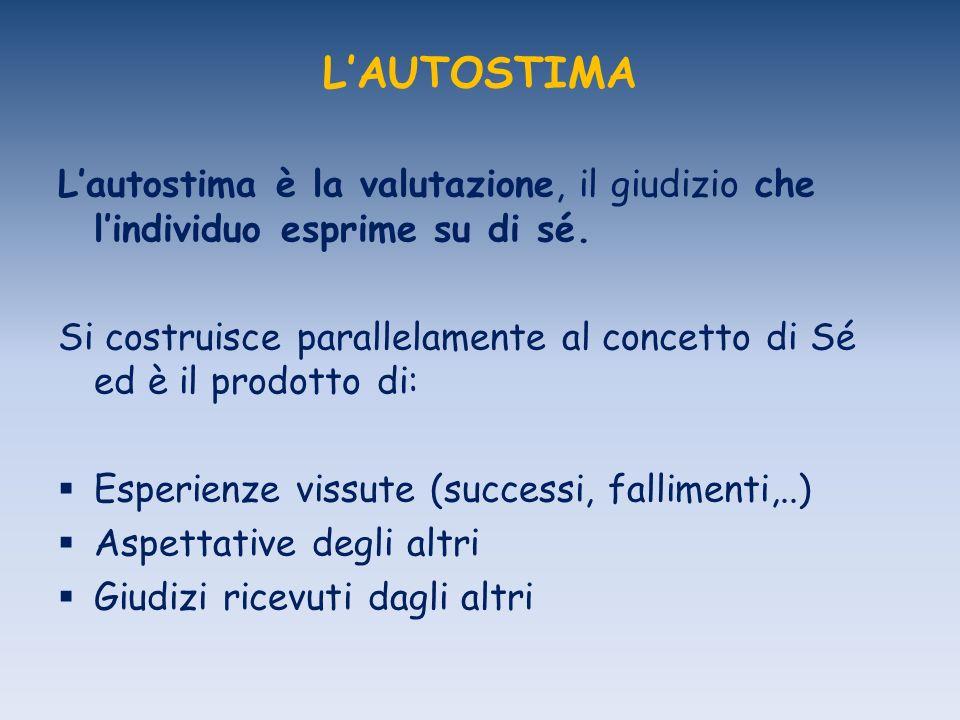 L'AUTOSTIMA L'autostima è la valutazione, il giudizio che l'individuo esprime su di sé.