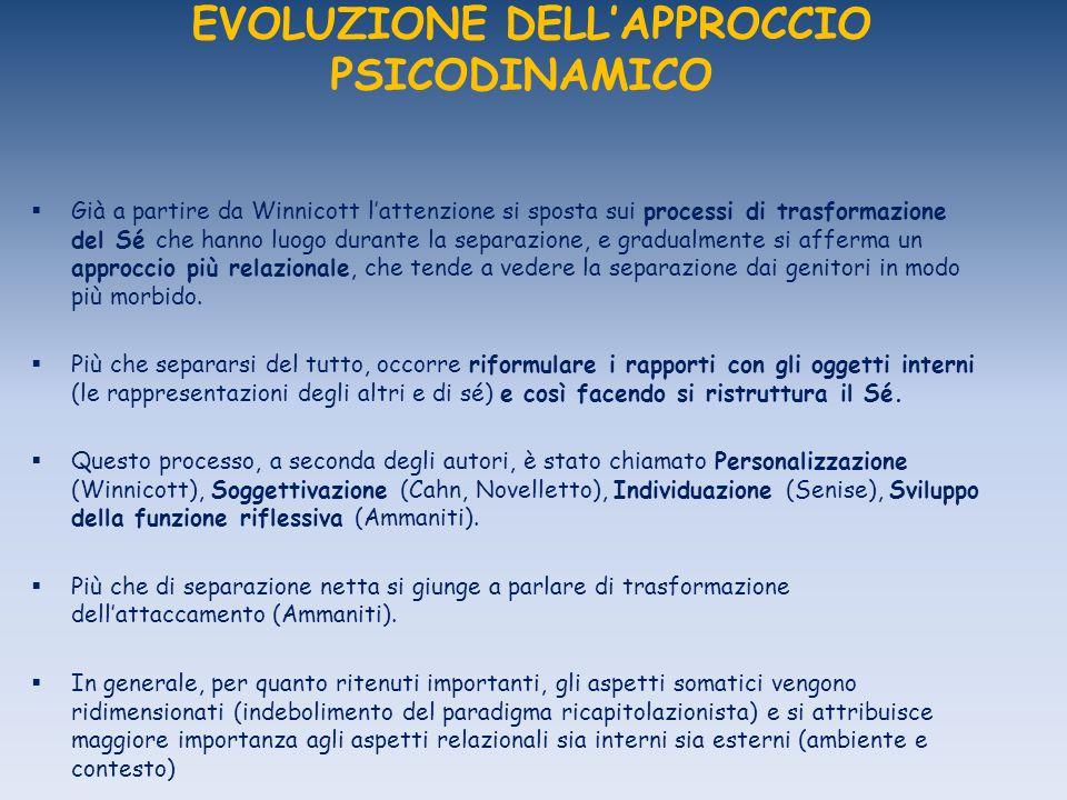 EVOLUZIONE DELL'APPROCCIO PSICODINAMICO