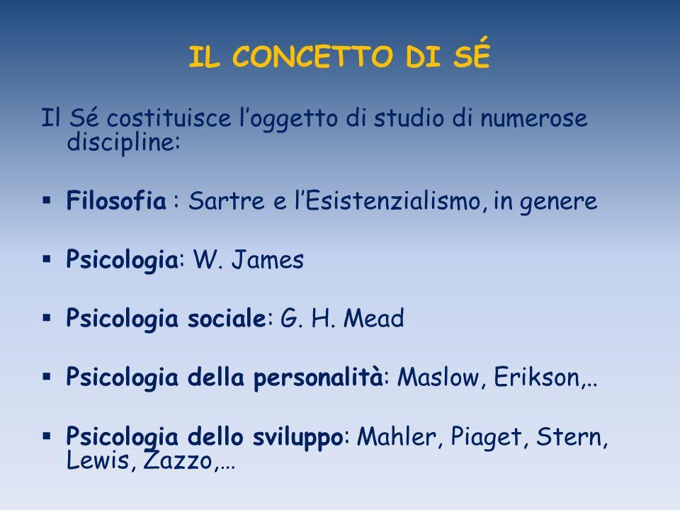 IL CONCETTO DI SÉ Il Sé costituisce l'oggetto di studio di numerose discipline: Filosofia : Sartre e l'Esistenzialismo, in genere.