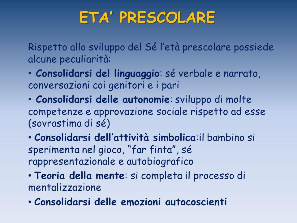 ETA' PRESCOLARE Rispetto allo sviluppo del Sé l'età prescolare possiede alcune peculiarità: