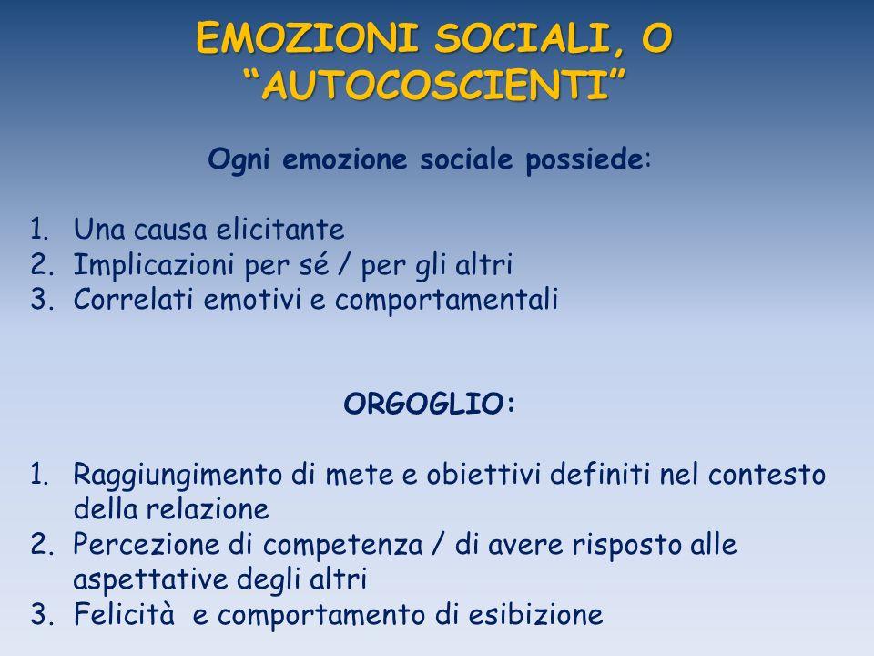 EMOZIONI SOCIALI, O AUTOCOSCIENTI