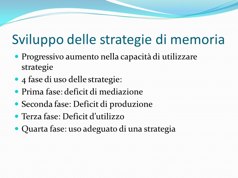 Sviluppo delle strategie di memoria
