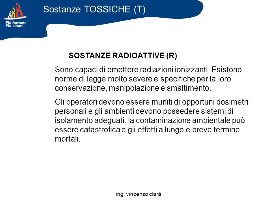 Sostanze TOSSICHE (T) SOSTANZE RADIOATTIVE (R)