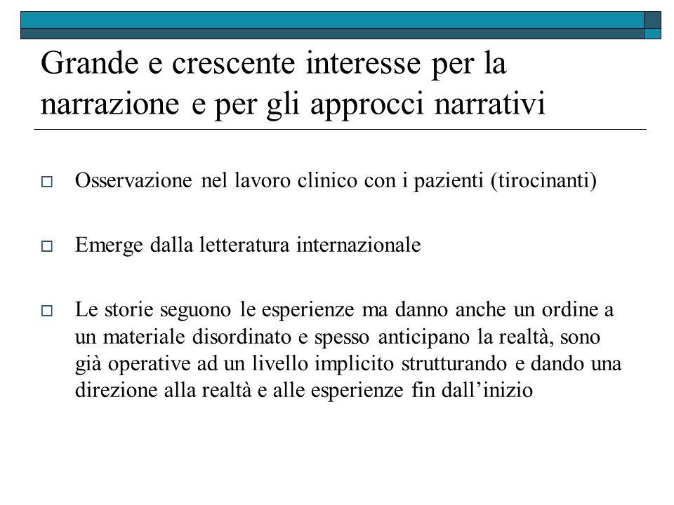 Grande e crescente interesse per la narrazione e per gli approcci narrativi