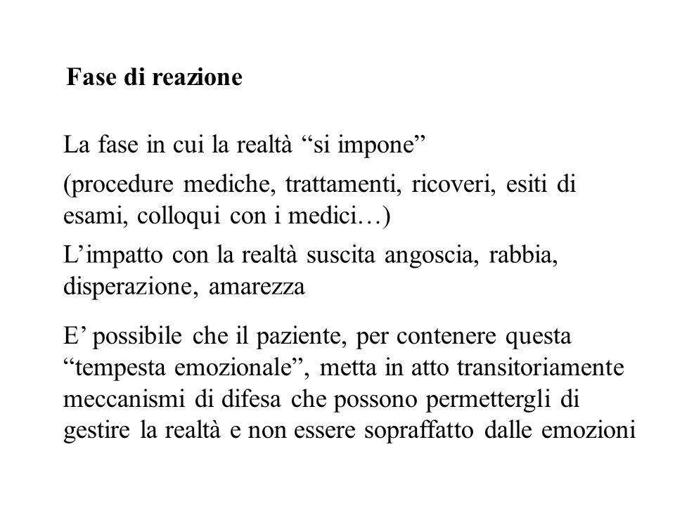 Fase di reazione La fase in cui la realtà si impone (procedure mediche, trattamenti, ricoveri, esiti di esami, colloqui con i medici…)