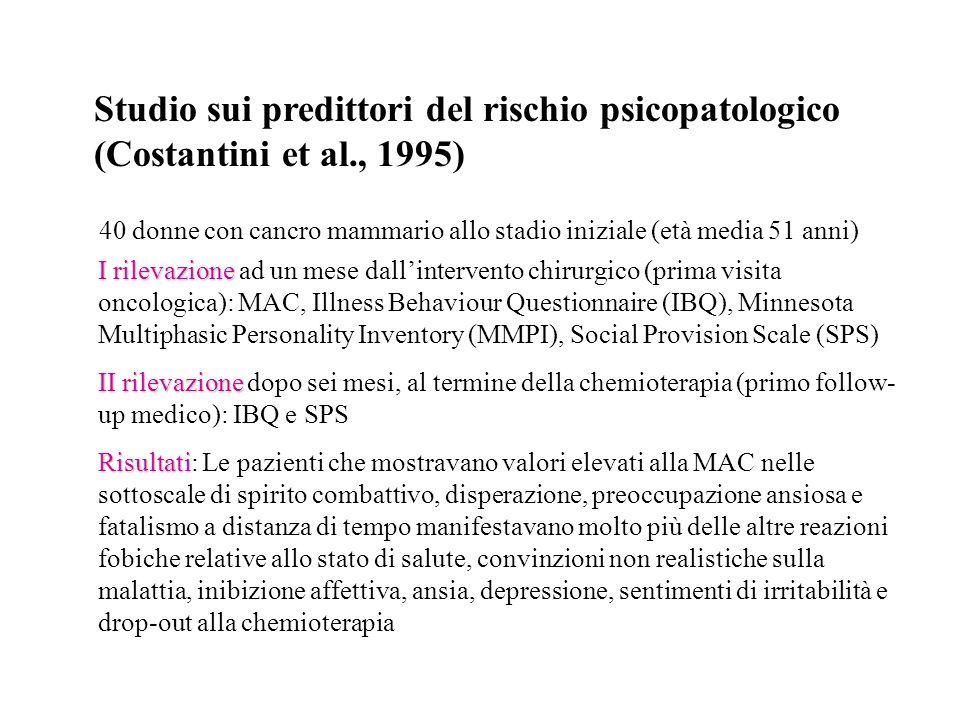 Studio sui predittori del rischio psicopatologico (Costantini et al