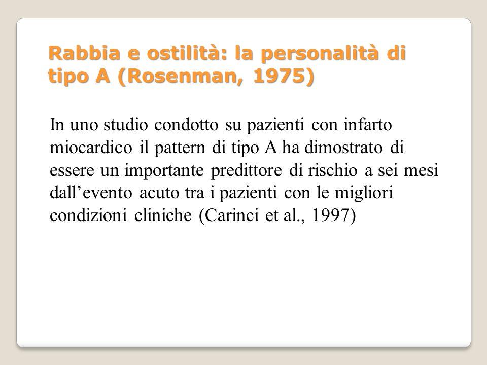 Rabbia e ostilità: la personalità di tipo A (Rosenman, 1975)