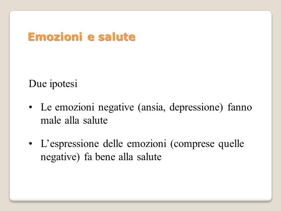 Emozioni e salute Due ipotesi. Le emozioni negative (ansia, depressione) fanno male alla salute.