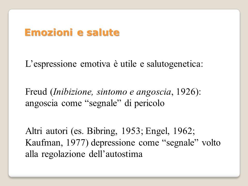 Emozioni e salute L'espressione emotiva è utile e salutogenetica: Freud (Inibizione, sintomo e angoscia, 1926): angoscia come segnale di pericolo.