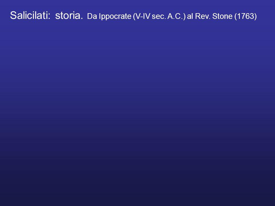 Salicilati: storia. Da Ippocrate (V-IV sec. A.C.) al Rev. Stone (1763)